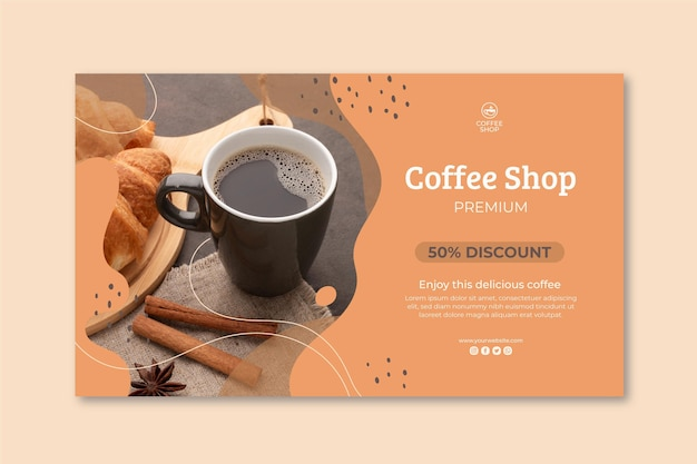 Coffee shop banner template Free Vector