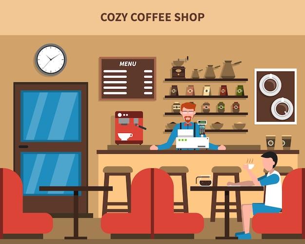 Coffee shop bar interior retro flat banner Free Vector