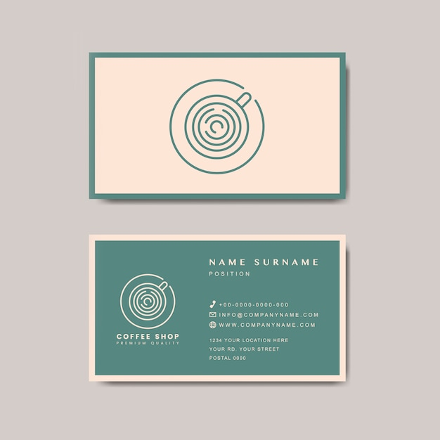 Coffee shop business card template vector Free Vector