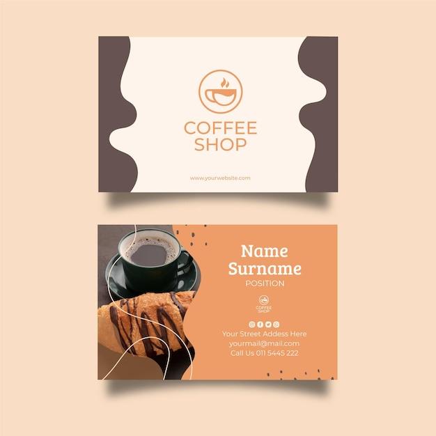 Coffee shop business card template Premium Vector