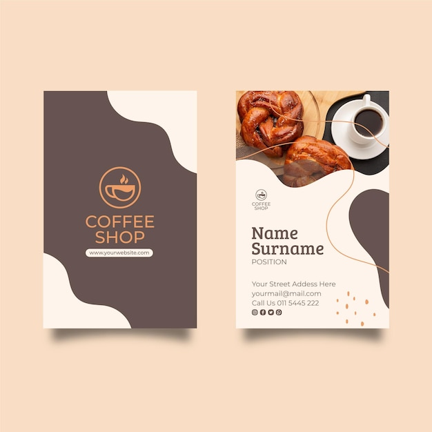 Coffee shop business card template Premium Vector