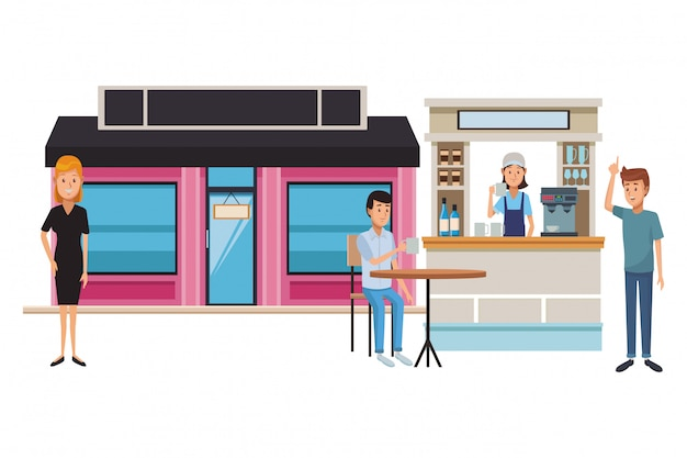 Coffee shop cartoon Premium Vector