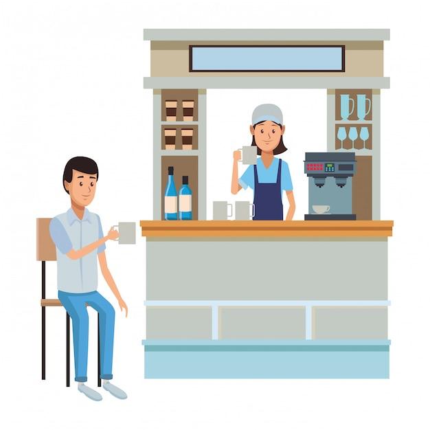 Coffee shop cartoon Premium Vector