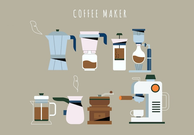 Coffee shop coffee maker tools collection Premium Vector