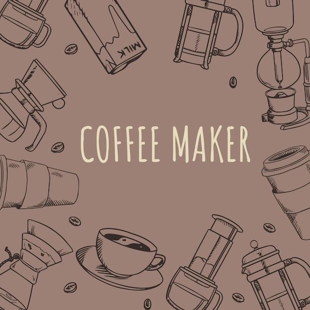 Coffee shop coffee maker tools doodle handdrawn Premium Vector