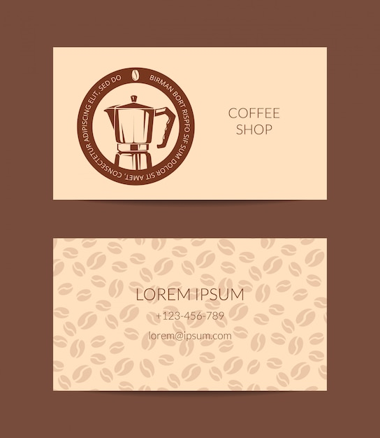 Coffee shop or company business card template isolated Premium Vector