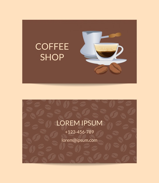 Coffee shop or company business card template woth cup Premium Vector