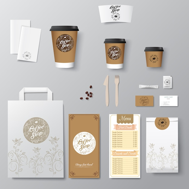 Coffee shop corporate identity template design set with calligraphy logo. take away template, Premium Vector