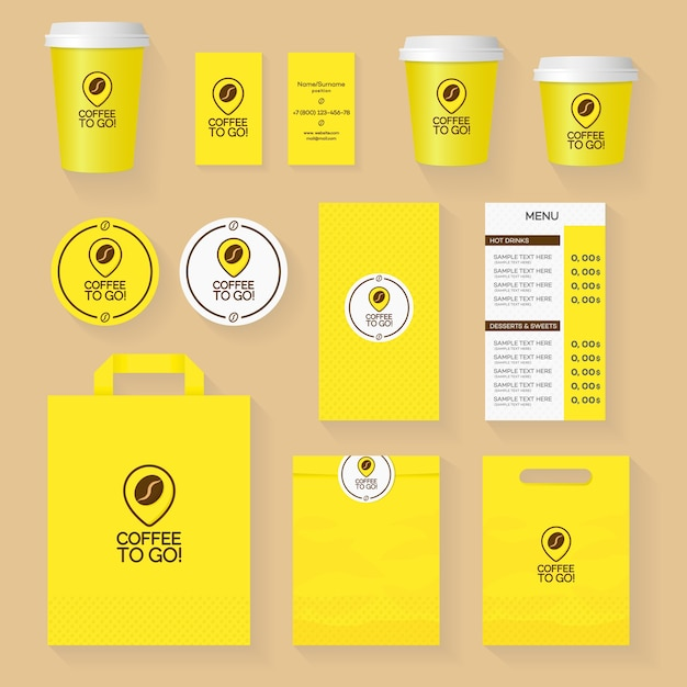 Coffee shop corporate identity template design set with coffee to go logo and coffee grain. restaurant cafe set card, flyer, menu, package, uniform design set. Premium Vector