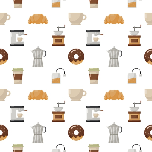 Coffee shop and dessert seamless pattern isolate on white Premium Vector