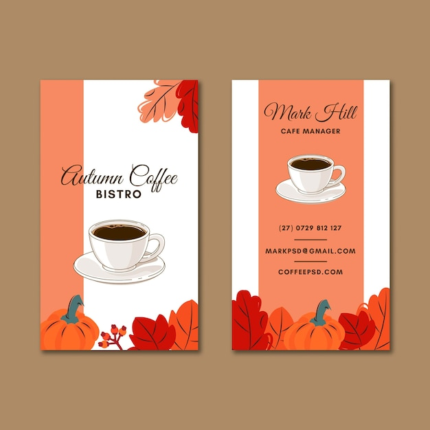 Coffee shop double-sided business card Premium Vector