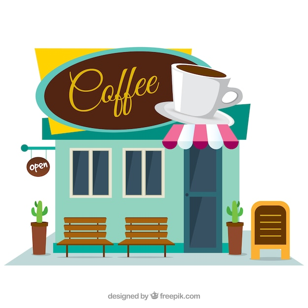 coffee shop facade in flat design vector free download. Black Bedroom Furniture Sets. Home Design Ideas