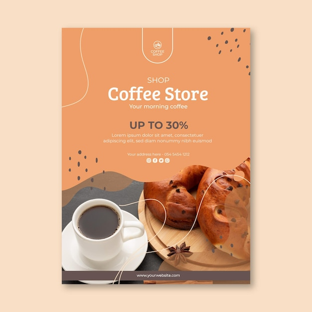 Coffee shop flyer template Free Vector