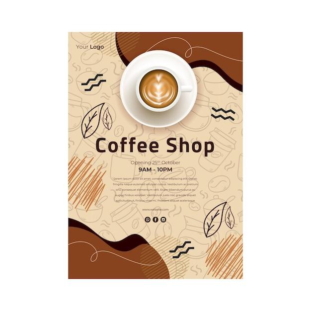 Coffee shop flyer vertical Free Vector