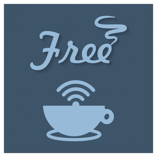 Coffee shop free wifi sign Free Vector