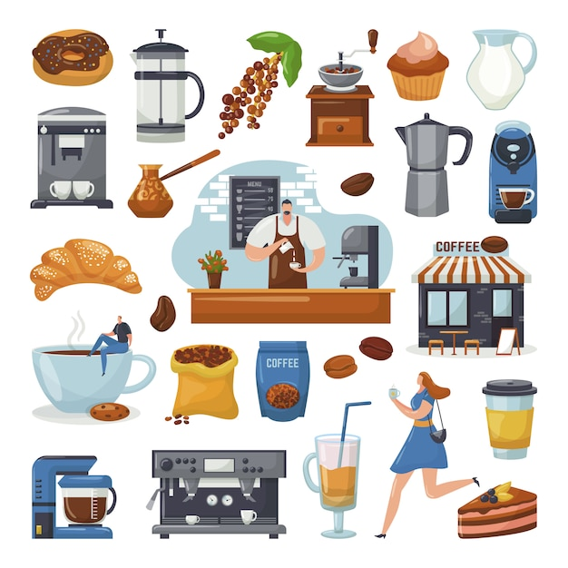 Coffee shop icons and coffee maker machine, coffegrinder, barista, mug elements for cafe, set of   illustrations. pastry, coffeebeans, cup of cappuccino or latte, mocha, coffee mill. Premium Vector