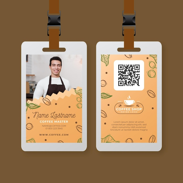 Coffee shop id card template Free Vector