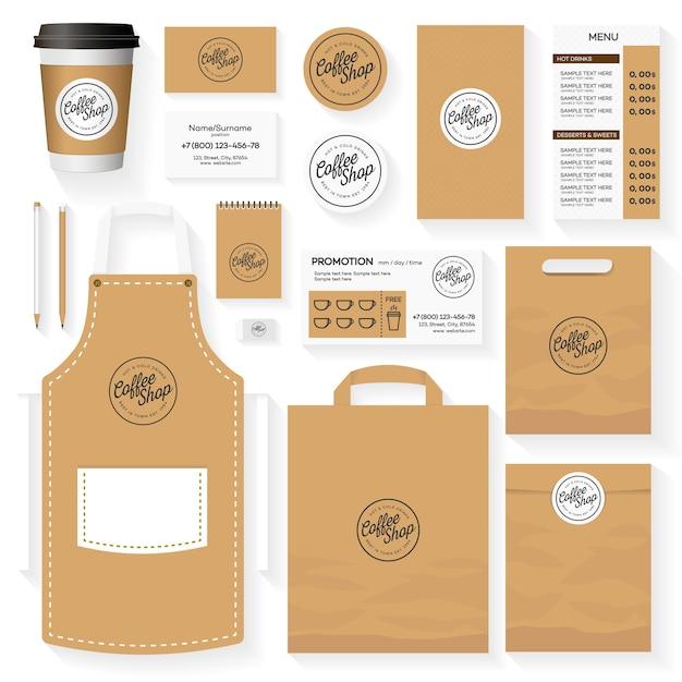 Coffee shop identity template design set with coffee shop logo Premium Vector