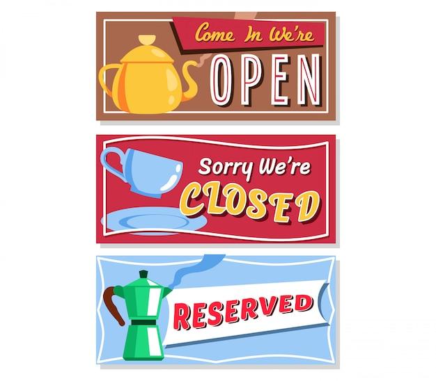 Coffee shop information  board sign vector design. Premium Vector