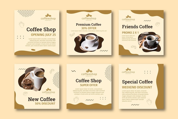 Coffee shop instagram post collection Premium Vector
