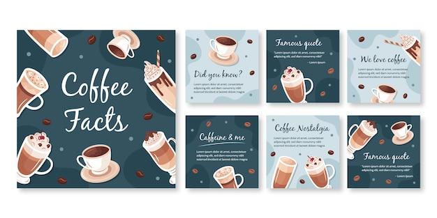 コーヒーショップinstagram投稿テンプレート Premiumベクター