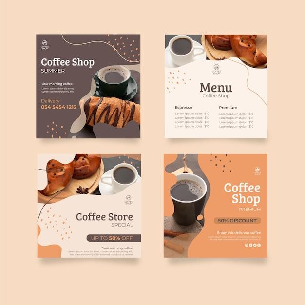 Coffee shop instagram posts Free Vector