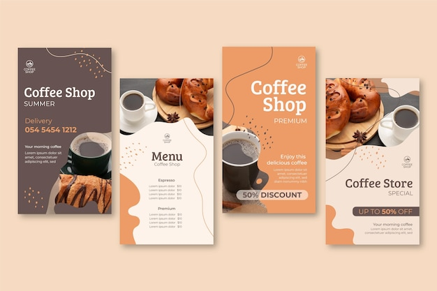 Coffee shop instagram stories Free Vector