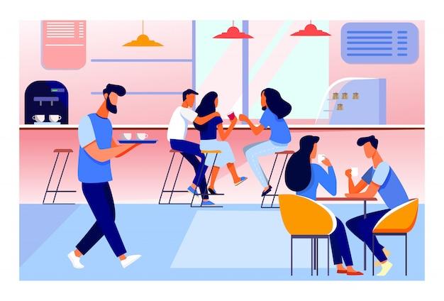 Интерьер кафе иллюстрации Бесплатные векторы