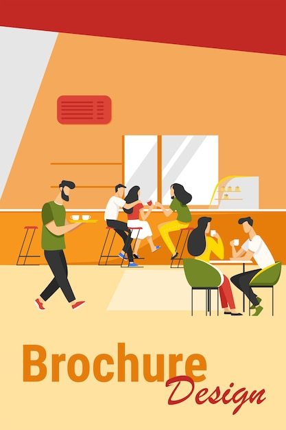 Кофейня интерьер векторные иллюстрации. молодые мужчины и женщины пьют кофе за столиками или прилавком. изображение современного кафе для столовой или концепции общественного питания Бесплатные векторы