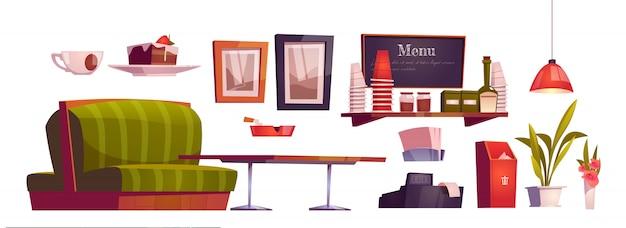 Интерьер кофейни с диваном, деревянным столом, кассой и чашками на полке Бесплатные векторы