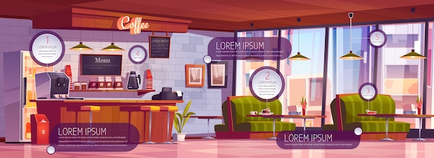Free Vector Coffee Shop Interior With Infographic Elements Cartoon Illustration Of Empty Cafe With Wooden Counter Stools Sofas And Tables Coffee Bar With Icons And Information Banners