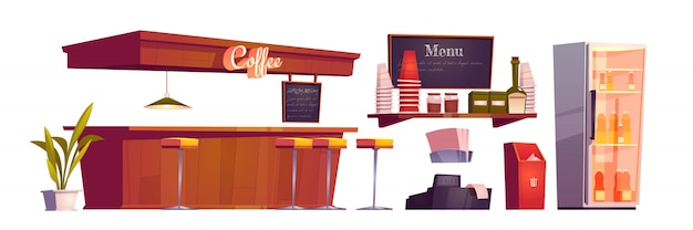 Coffee shop interior with wooden counter, stools and bottles in fridge Free Vector