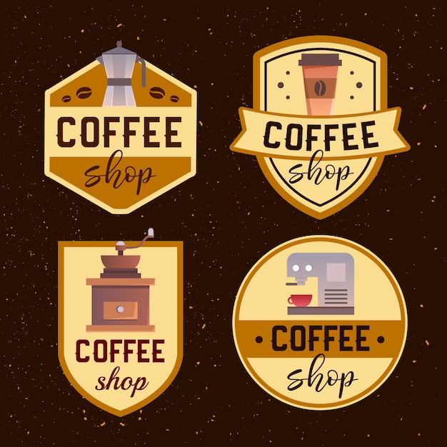 Coffee shop logo design template. retro coffee emblem. Free Vector