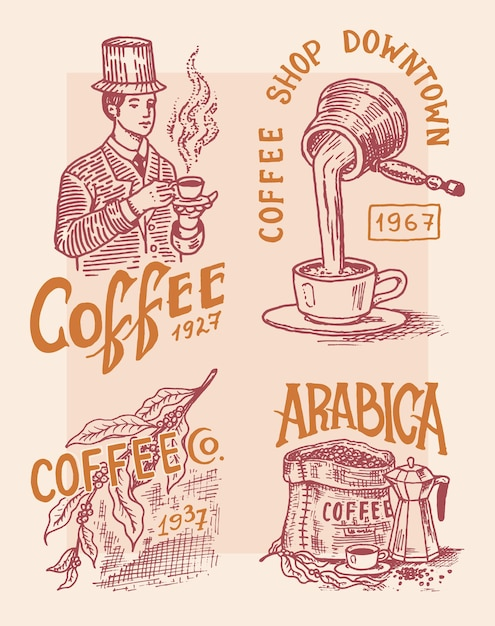 Coffee shop logo and emblem Premium Vector