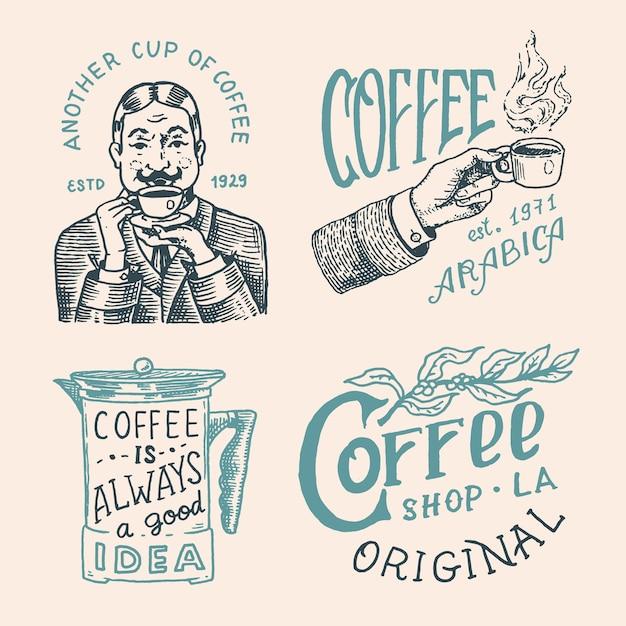 Coffee shop logo and emblem Premium Vector