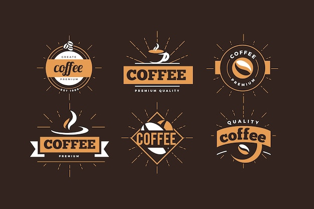 Coffee shop logo  retro collection Free Vector
