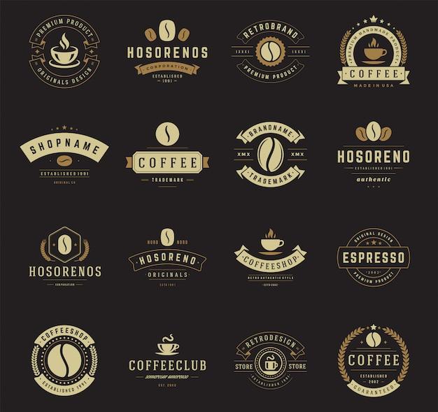 Coffee shop logo set Premium Vector