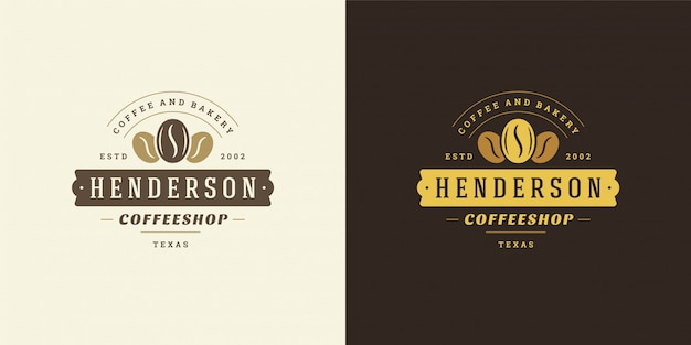 Coffee shop logo template  with bean silhouette good for cafe badge design and menu decoration Premium Vector