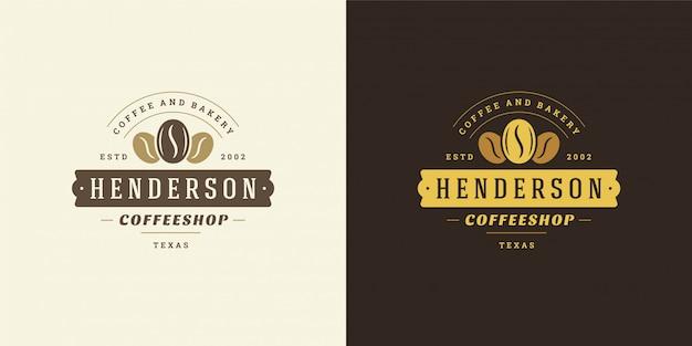 カフェのバッジのデザインとメニューの装飾に良い豆のシルエットのコーヒーショップのロゴのテンプレート Premiumベクター