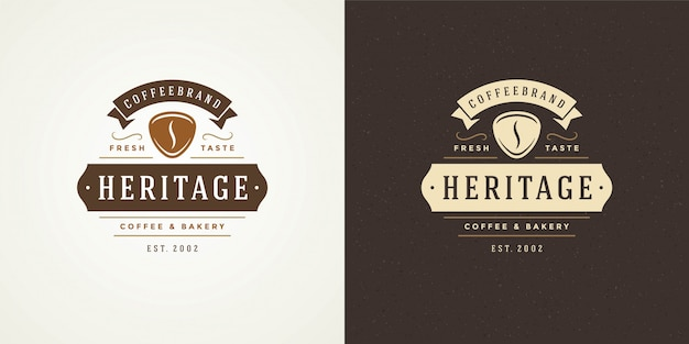 Coffee shop logo template with bean silhouette good Premium Vector