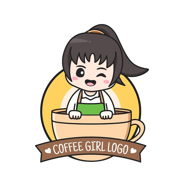 Coffee shop logo with girl inside the cup Premium Vector
