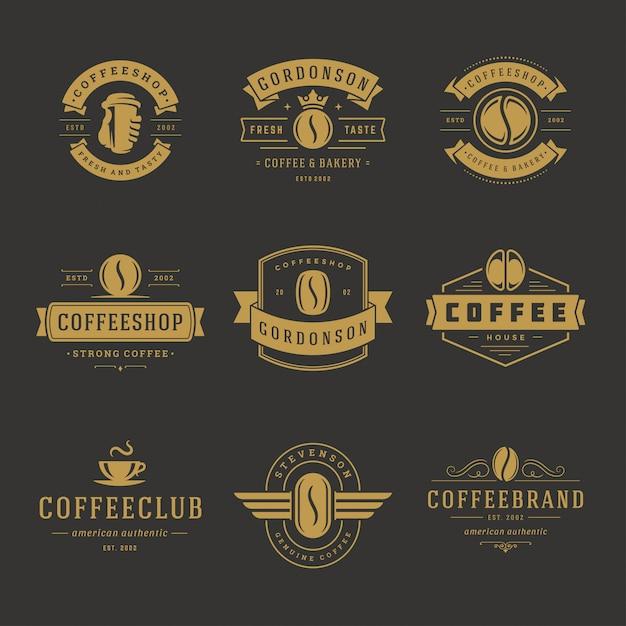 Coffee shop logos design templates set for cafe badge design and menu decoration Premium Vector