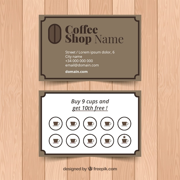 Coffee shop loyalty card template with elegant stye Free Vector