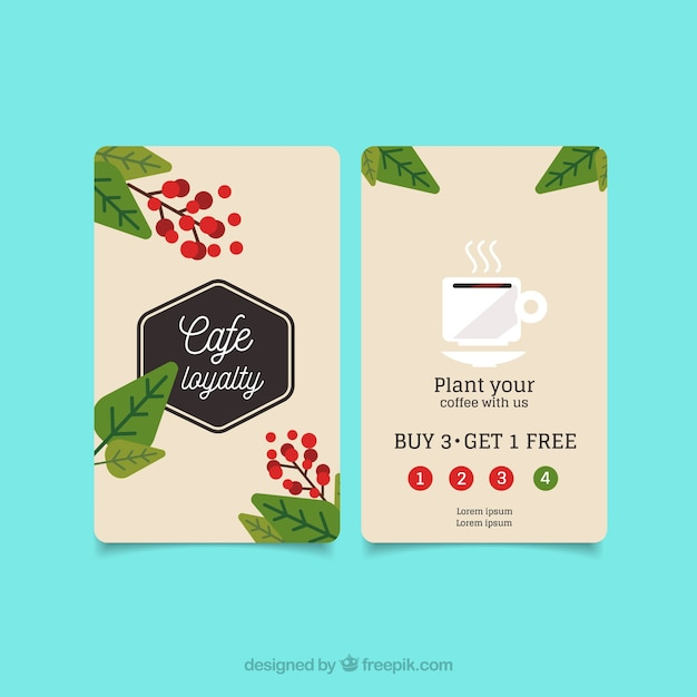 Coffee shop loyalty card template with elegant stye Free Vector