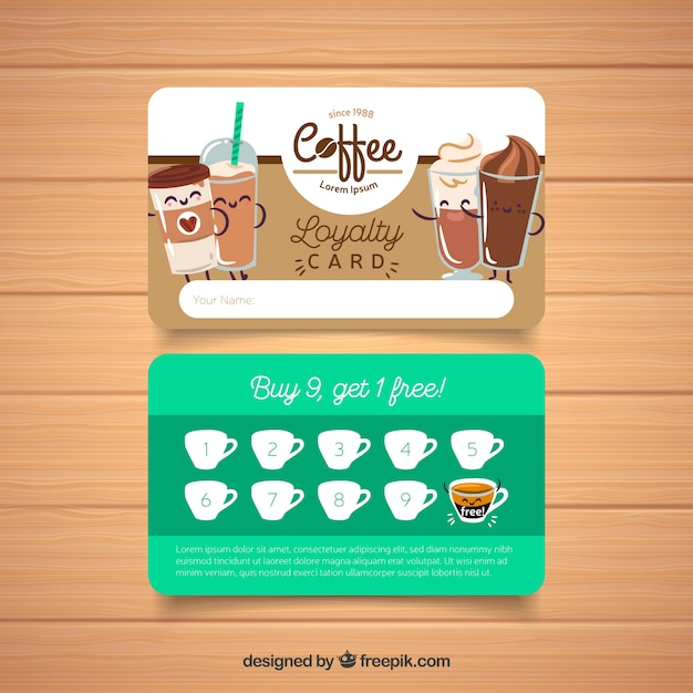 coffee shop loyalty card template vector free download. Black Bedroom Furniture Sets. Home Design Ideas