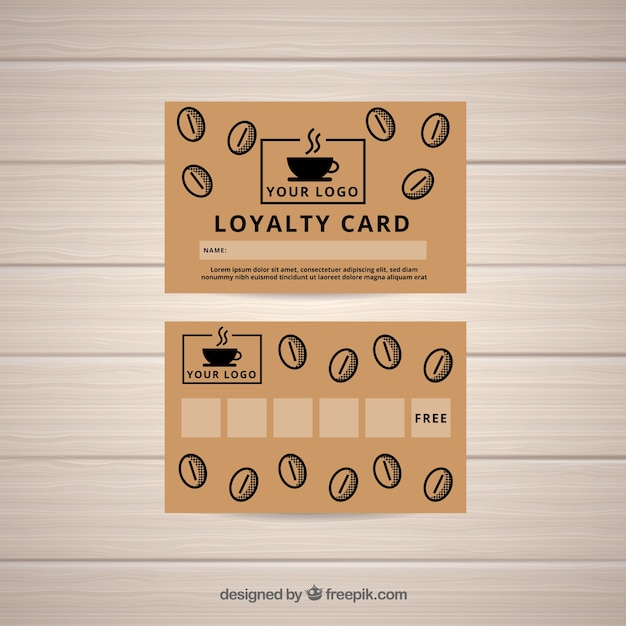 Coffee shop loyalty card template Free Vector