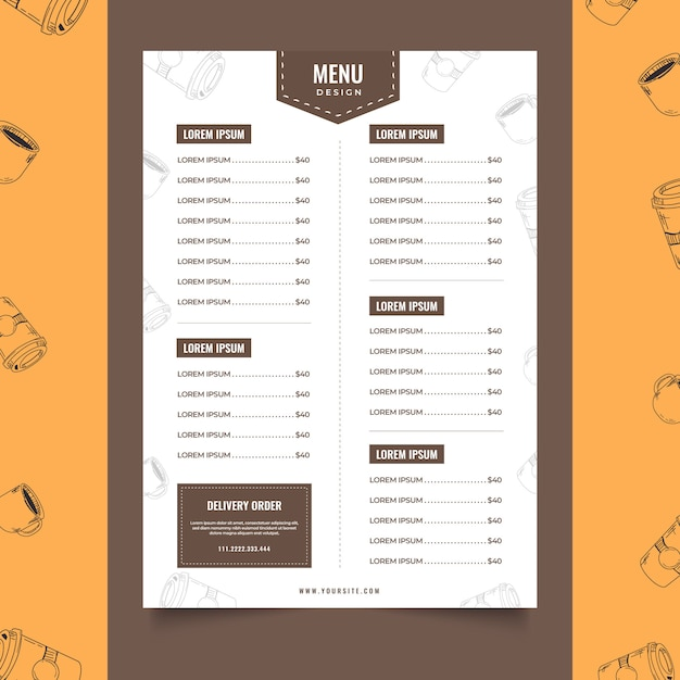 Coffee shop menu template cafe Premium Vector