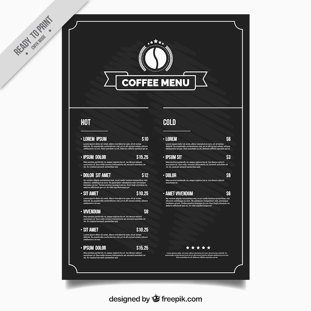 Coffee shop menu template vector free download for Coffee price list template