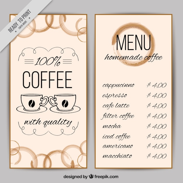 Coffee Shop Menu Template Vector | Free Download