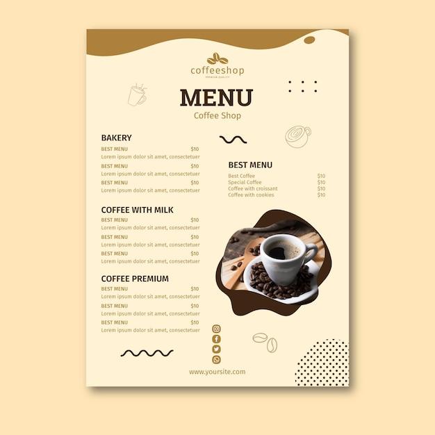 コーヒーショップメニューテンプレート Premiumベクター